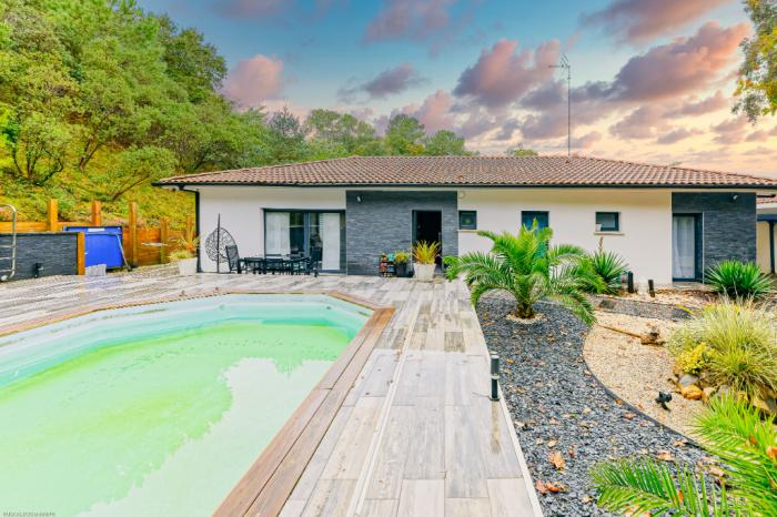 Villa T5 de plain pied avec piscine et garage
